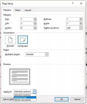Cómo hacer un paisaje de una página en Word 6