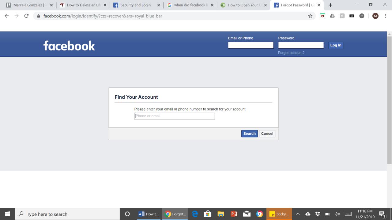 Cómo borrar una vieja cuenta de Facebook si no puedes entrar 1
