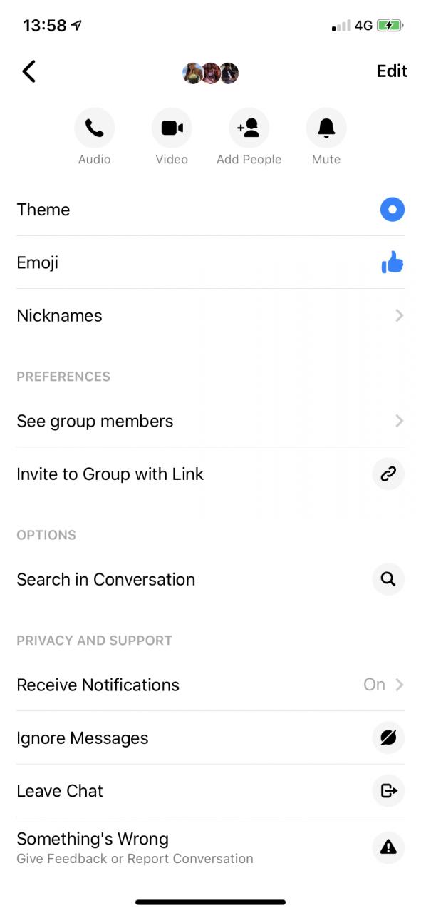 Cómo dejar un chat grupal en el Messenger 2